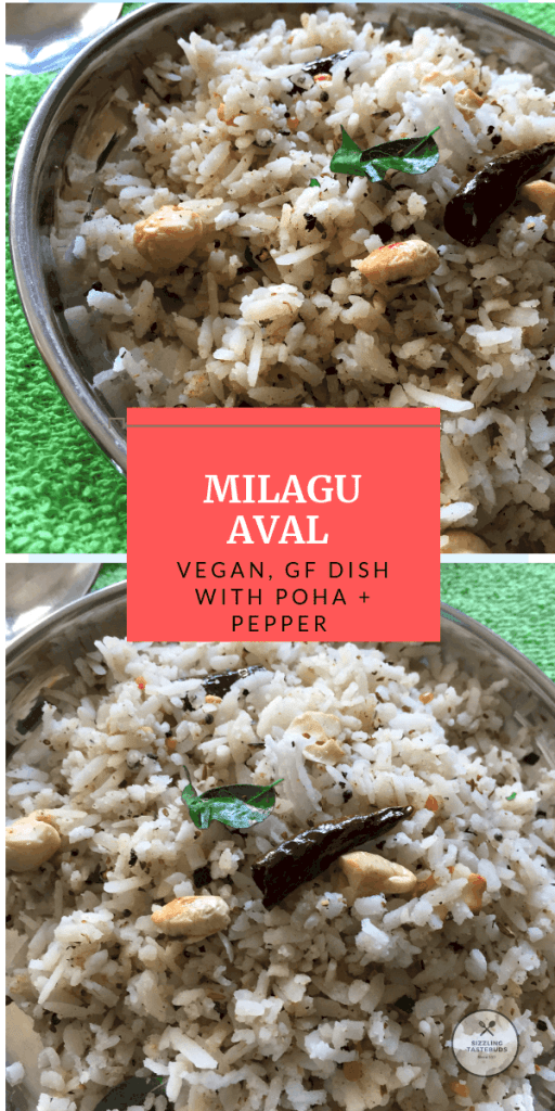 Milagu Aval or black Pepper flavoured Poha is a delicious satvik, Gluten Free and Vegan breakfast or snack made in less than 10 mins. Does not contain onion garlic too.
