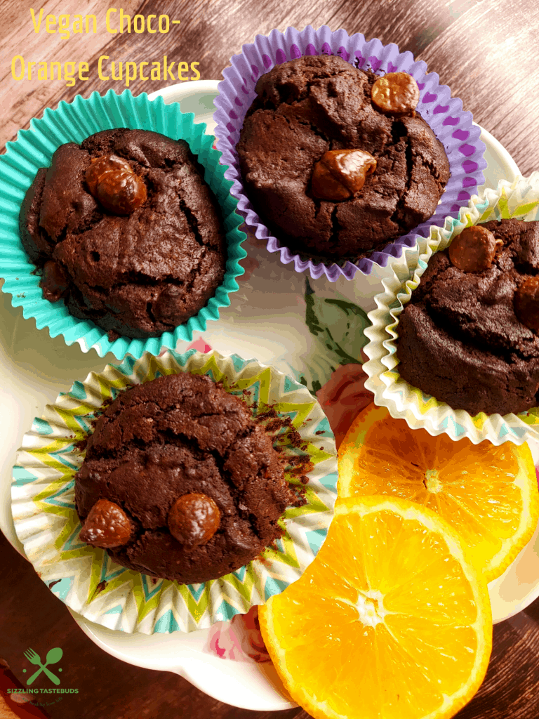 Vegan, chocolate and Orange Cupcakes. Perfect as a snack or breakfast
