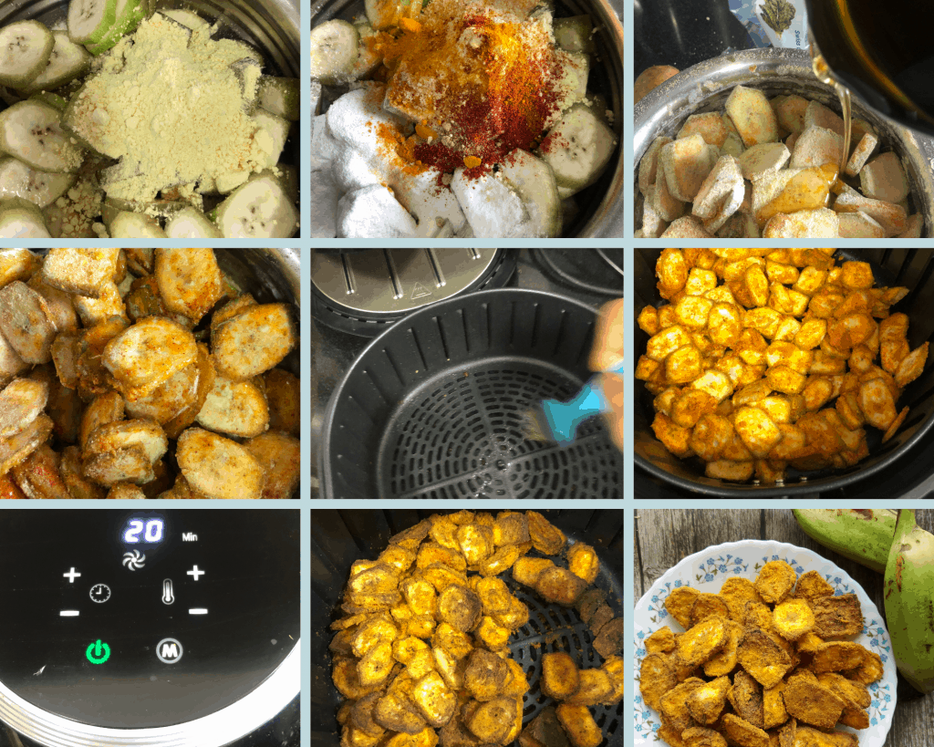 Airfryer Banana Crisps is a low cal and low carb GF, Vegan Snack made with raw banana, Chickpeas flour and basic spices. SErved as a side or a snack