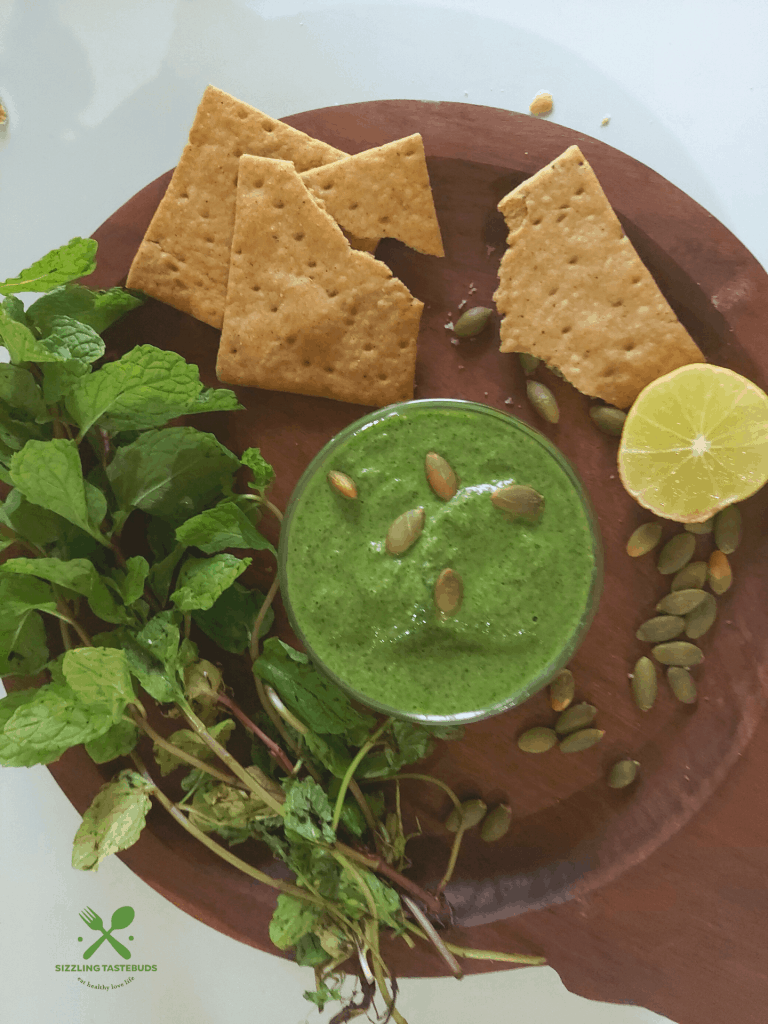 How about a quick Vegan Mint Pesto which works great for Pasta, as a Sandwich spread, as a dip etc , and what's more - made in just 5 mins !