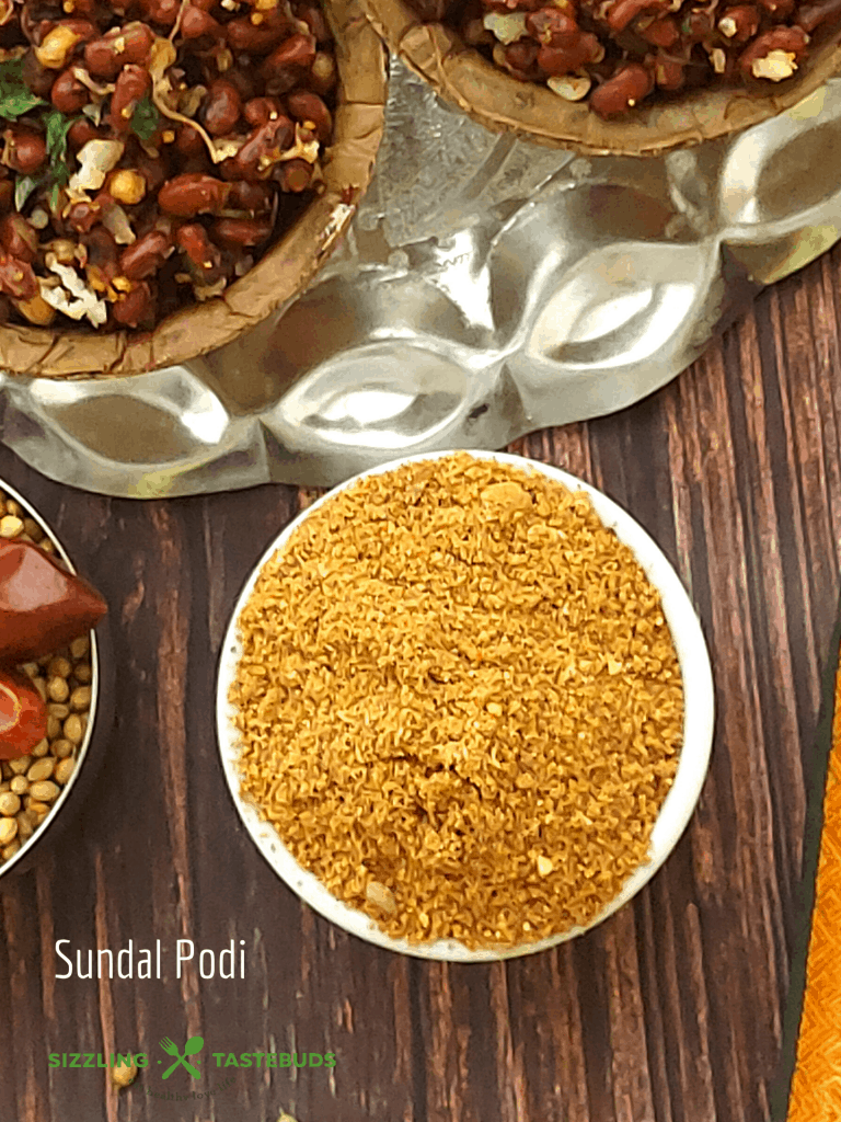 Sundal Podi is a ubiquitous spice powder mix used to season Sundal (or legume Stir fry). It can also be used in vegetable stir fries as an aromatic seasoning.